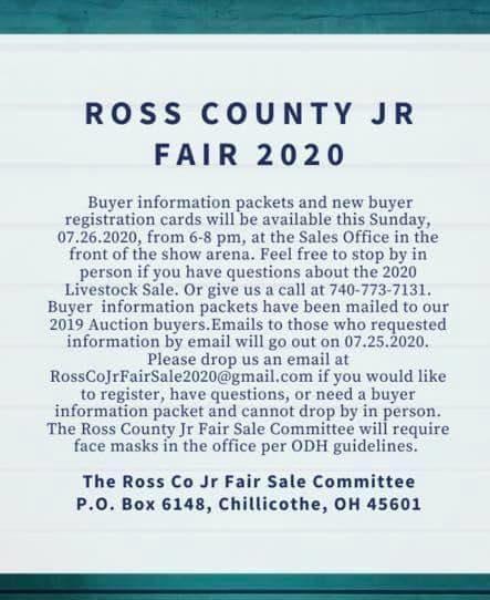 Ross County Jr Fair virtual 2020 details