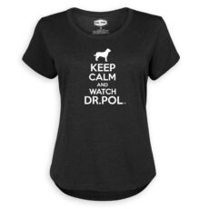 An image of a woman's flowy black shirt with a white print silhouette of a dog and bold letters saying Keep Calm and Watch DR. Pol