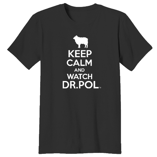 This unisex black shirt has a white print silhouette of a lamb and bold letters saying Keep Calm and Watch DR. Pol